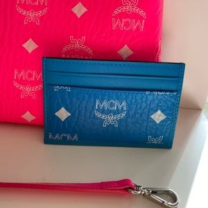 Blue Mcm card holder wallet
